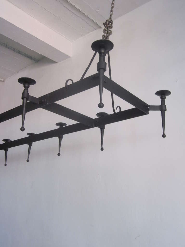Very Large French 1940s Wrought Iron Chandelier 6