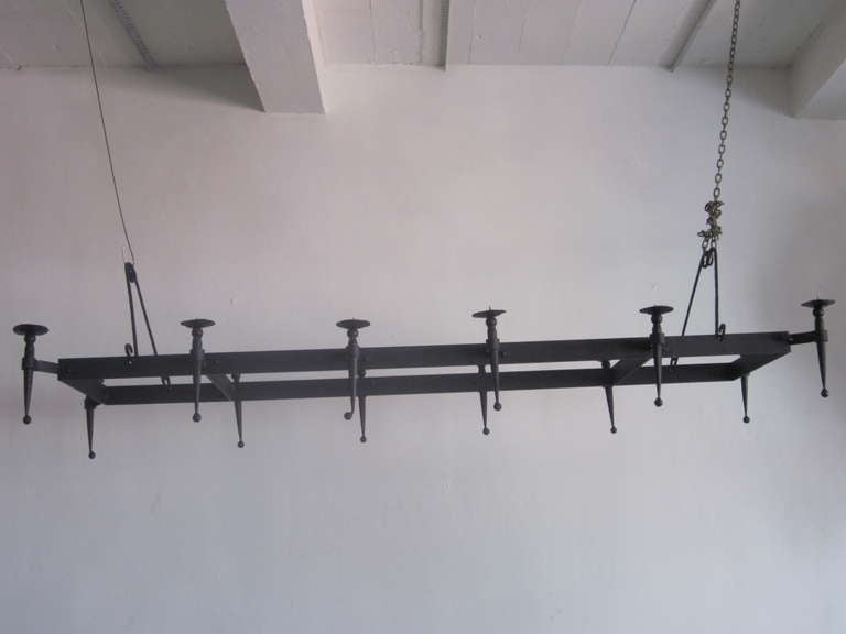 Very Large French 1940s Wrought Iron Chandelier 3