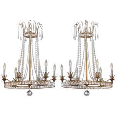 2 French Mid-Century Style Modern Neoclassical Louis XVI Chandeliers