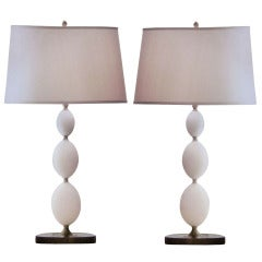 Four Italian Alabaster Table Lamps in the Form of Stacked Spheres