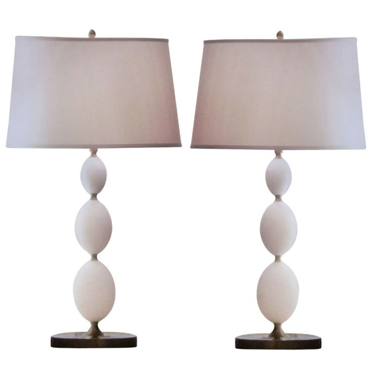 Four Italian Alabaster Table Lamps in the Form of Stacked Spheres 1