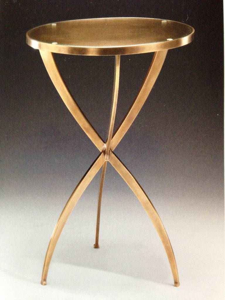 Two French Modern Neoclassical Style Round Solid Brass Side Tables 6