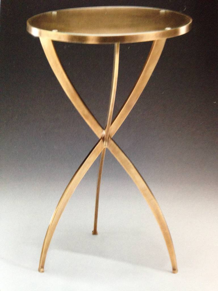 Two French Modern Neoclassical Style Round Solid Brass Side Tables 2