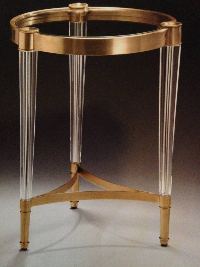 Two Solid Brass and Crystal End Tables in the Style of Fontana Arte 2