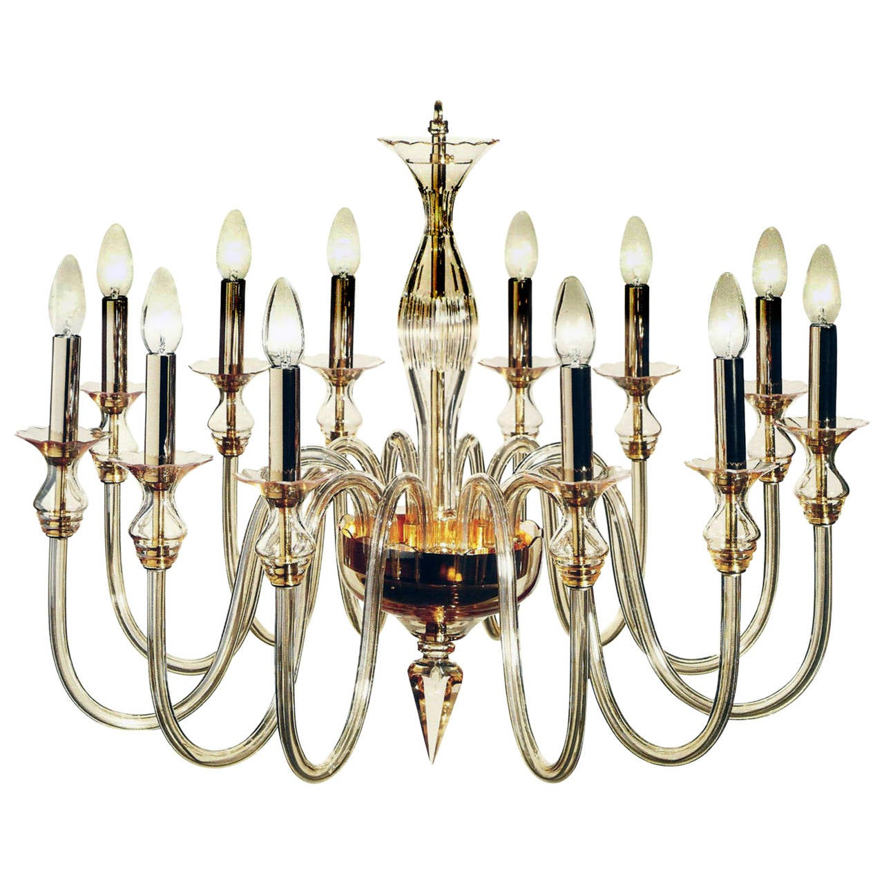 Amber Murano Glass Twelve-Arm Chandelier 1