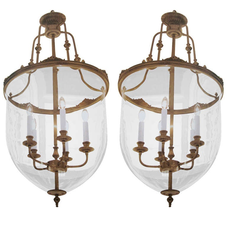 Two French Modern Neoclassical Style Brass and Blown Glass Chandeliers/ Lanterns For Sale