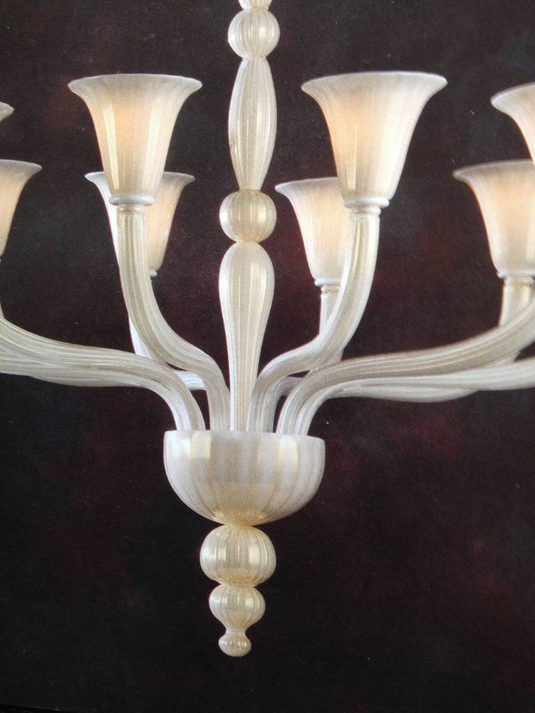 Mid-Century Modern 2 Italian Modern Neoclassical Hand-blown White & Gold Murano Glass Chandeliers For Sale