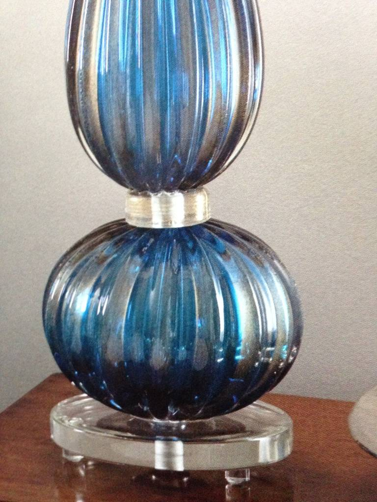 2 Pairs of Large Aqua Murano / Venetian Glass Table Lamps Attributed to Barovier For Sale 1