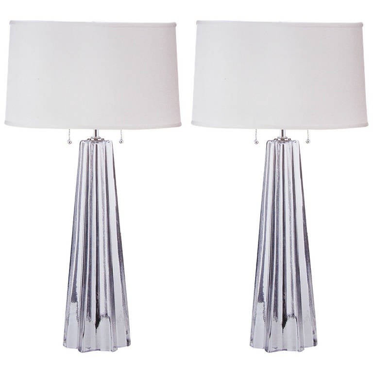 Pair Of Handblown Silver Murano Glass Table Lamps Attributed To Barovier 1