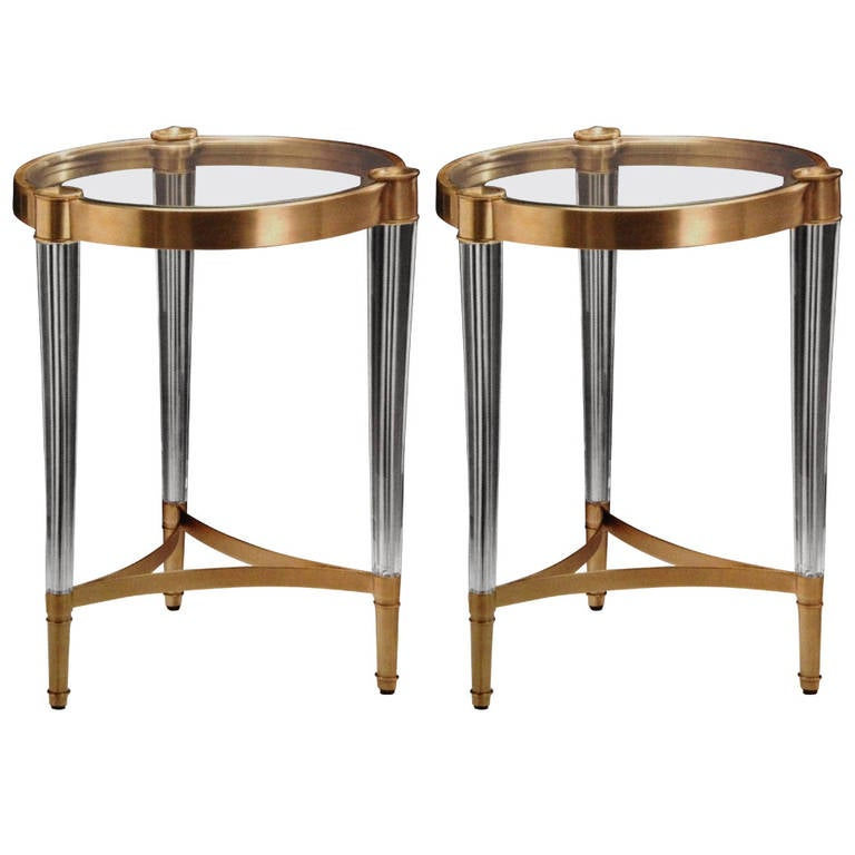 Two Solid Brass and Crystal End Tables in the Style of Fontana Arte 1