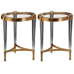 Two Solid Brass and Crystal End Tables in the Style of Fontana Arte