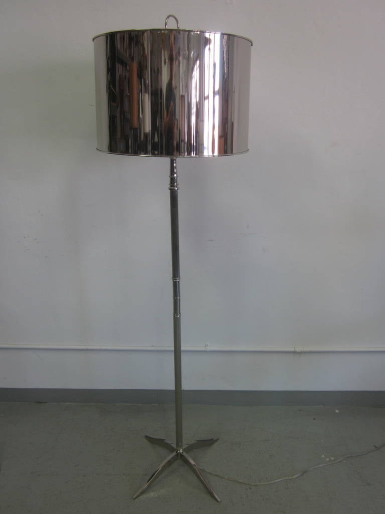 Pair French Mid-Century Modern Style Nickel Floor Lamps, Style Maison Charles 3
