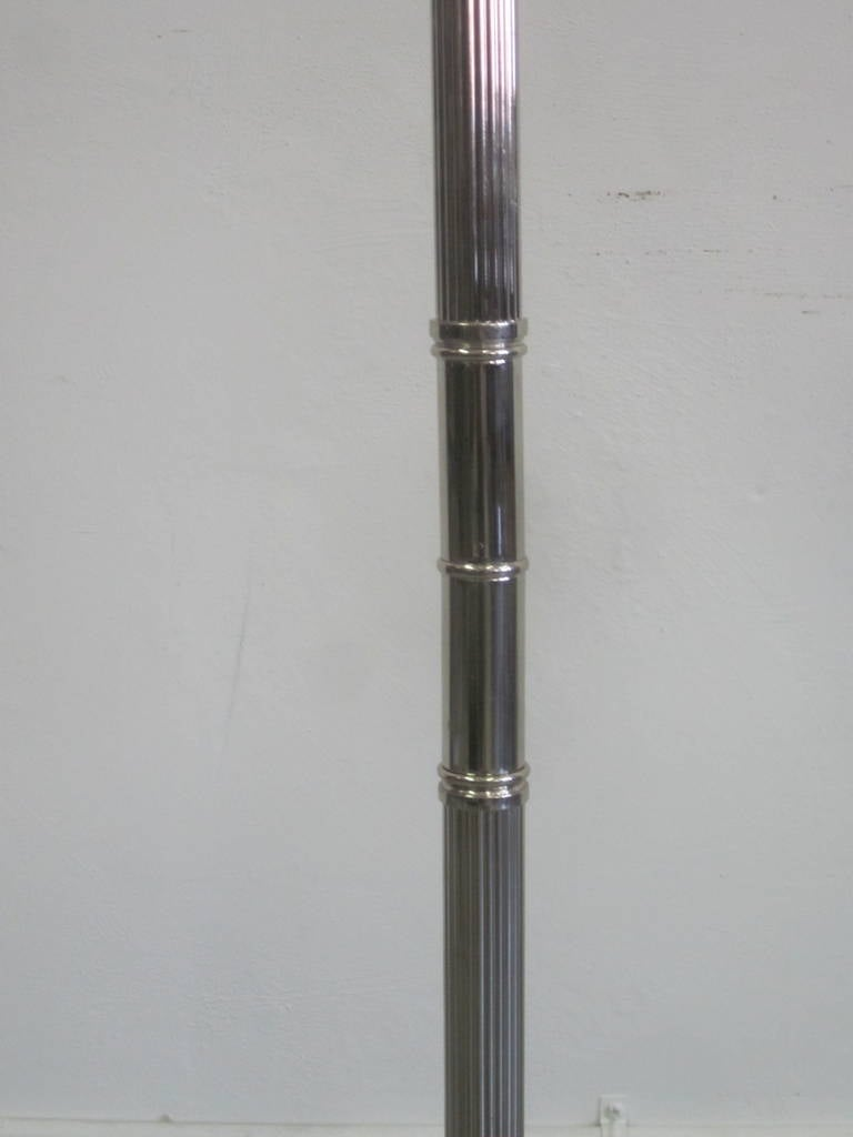 Pair French Mid-Century Modern Style Nickel Floor Lamps, Style Maison Charles 5