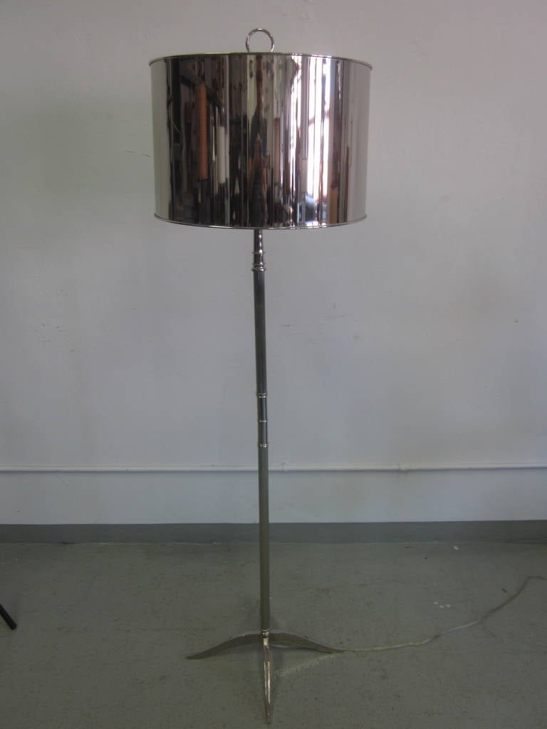 Pair French Mid-Century Modern Style Nickel Floor Lamps, Style Maison Charles 2