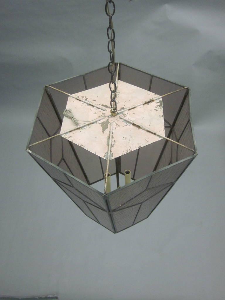 3 Italian Mid-Century Modern Leaded Rose Glass Chandeliers / Pendants / Lanterns For Sale 1
