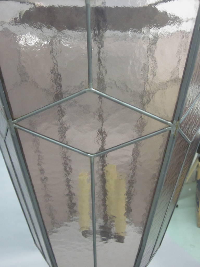 3 Italian Mid-Century Modern Leaded Rose Glass Chandeliers / Pendants / Lanterns For Sale 2