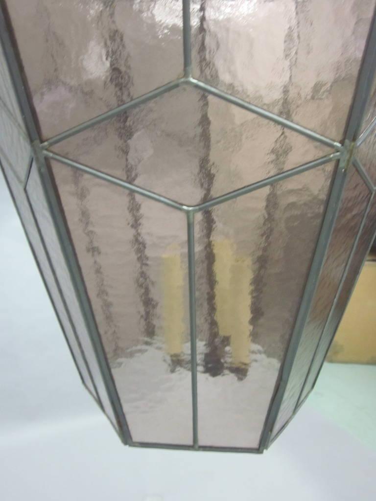 3 Italian Mid-Century Modern Leaded Rose Glass Chandeliers / Pendants / Lanterns For Sale 4