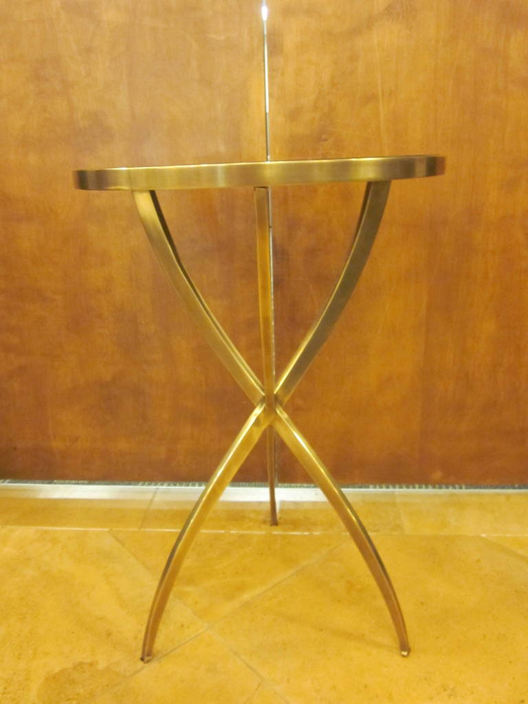 Two French Modern Neoclassical Style Round Solid Brass Side Tables 3
