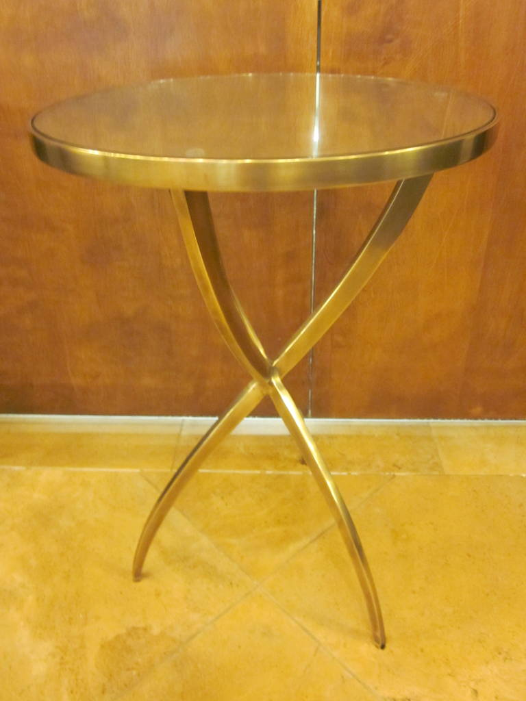 Two French Modern Neoclassical Style Round Solid Brass Side Tables 4
