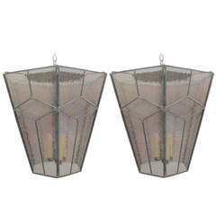 Three Italian Modern Neoclassical Leaded Rose Glass Chandeliers/Lanterns