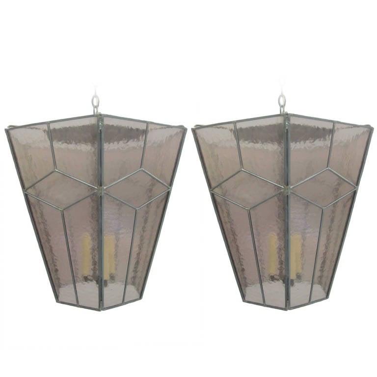 3 Italian Mid-Century Modern Leaded Rose Glass Chandeliers / Pendants / Lanterns For Sale