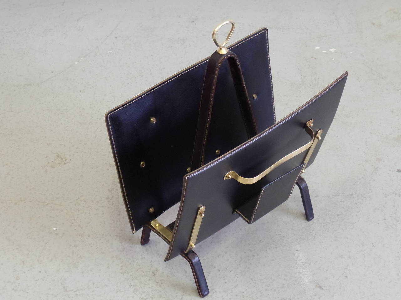 French Hand-Stitched Leather Magazine Stand by Jacques Adnet For Sale 1