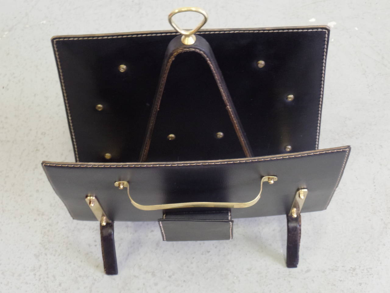 Mid-Century Modern French Hand-Stitched Leather Magazine Stand by Jacques Adnet For Sale