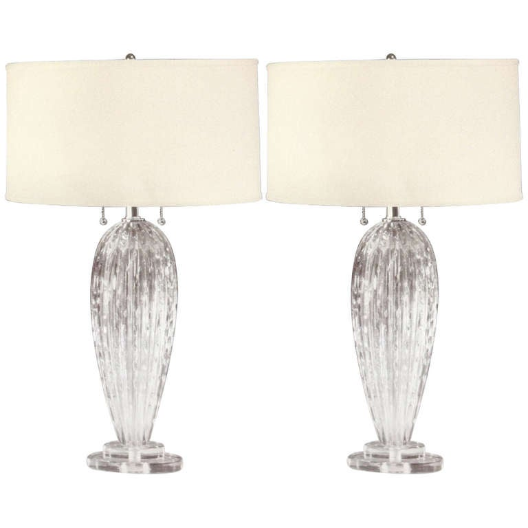 Pair Mid-Century Modern Style Murano /Venetian Glass Table Lamps, Attr. Barovier
