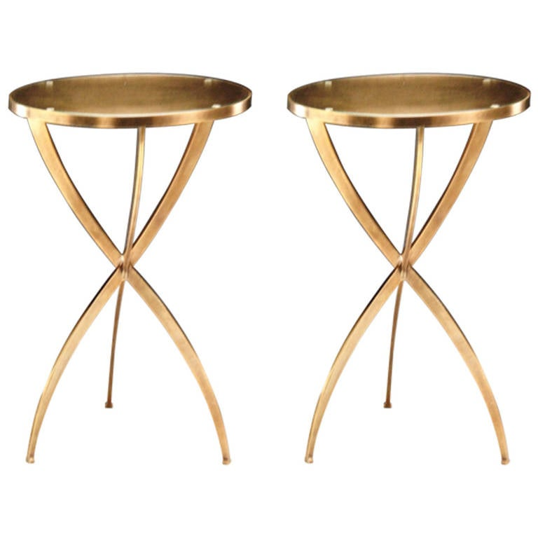 Two French Mid-Century Modern Neoclassical Style Round Solid Brass Side Tables
