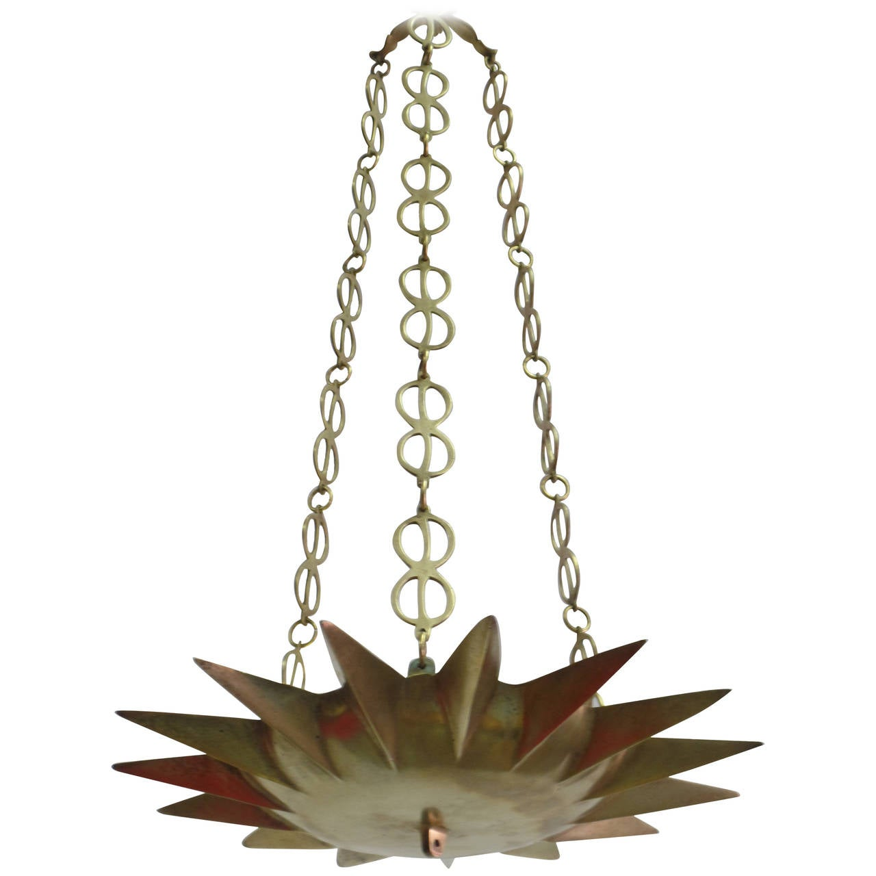 French Mid-Century Modern Neoclassical Gilt Bronze Sunburst Pendant / Chandelier