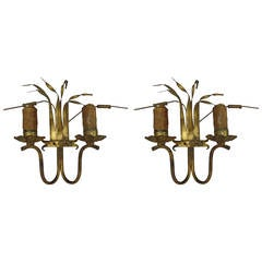 Pair of French Mid-Century Gilt Iron Wall Sconces, 1940