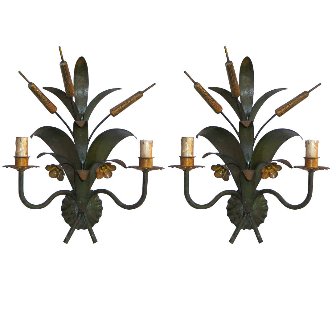 Pair French Mid-Century Modern Hand-Painted Toll Floral Sconces, Maison Baguès