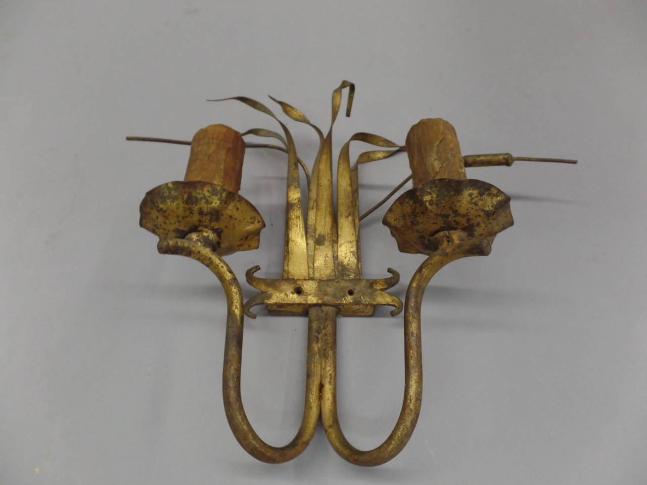 French Iron Wall Sconces : Pair of French Gilt Iron Wall Sconces, 1940s For Sale at 1stdibs