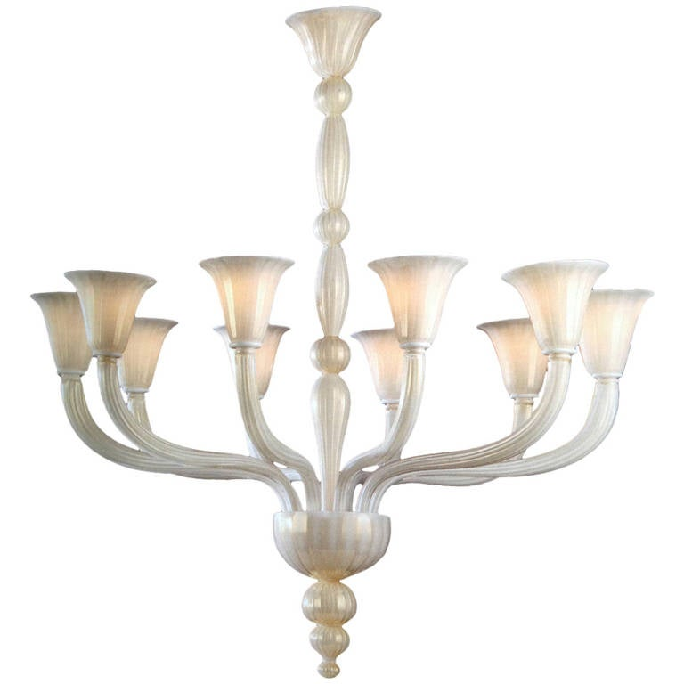 2 Italian Modern Neoclassical Hand-blown White & Gold Murano Glass Chandeliers For Sale