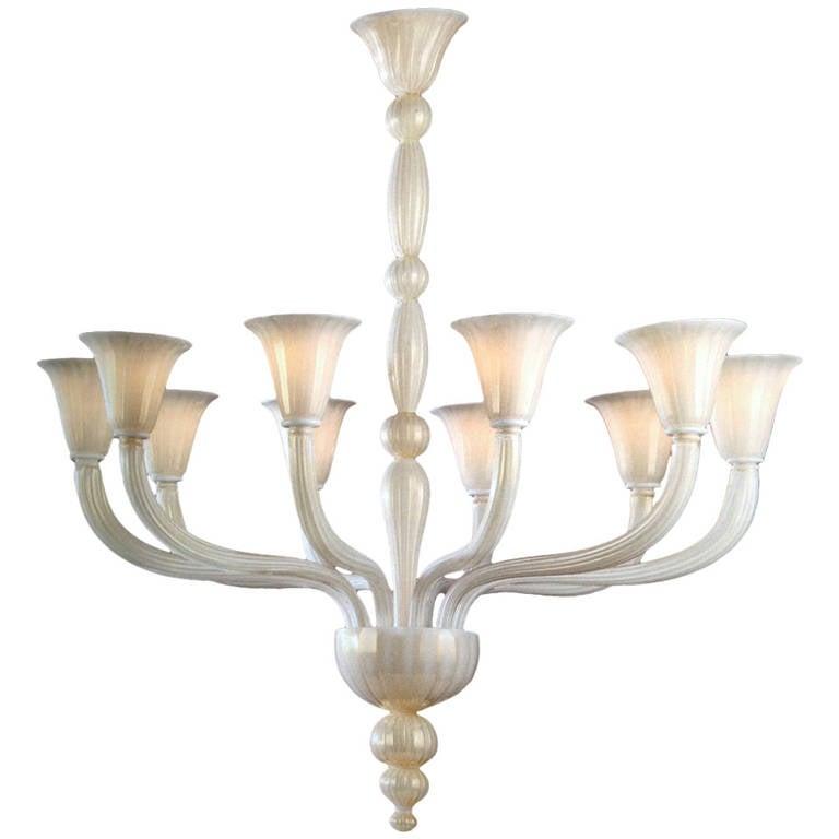 2 italian modern neoclassical hand blown white and gold murano glass 2 italian modern neoclassical hand blown white gold murano glass chandeliers for sale aloadofball Choice Image