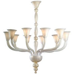 Two Large Handblown White and Gold Murano Glass Chandeliers