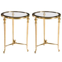 Pair of Modern Neoclassical Solid Brass Side Tables