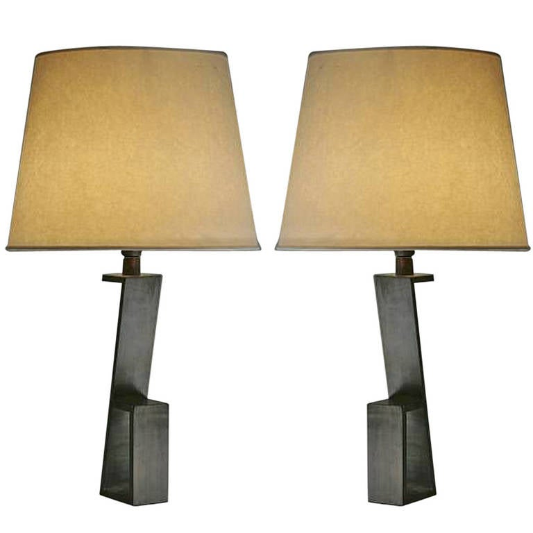 "Pair of French Mid-Century ""Z""  Table Lamps in Manner of Jacques Quinet 1"