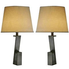 "Pair of French Mid-Century ""Z""  Table Lamps in Manner of Jacques Quinet"