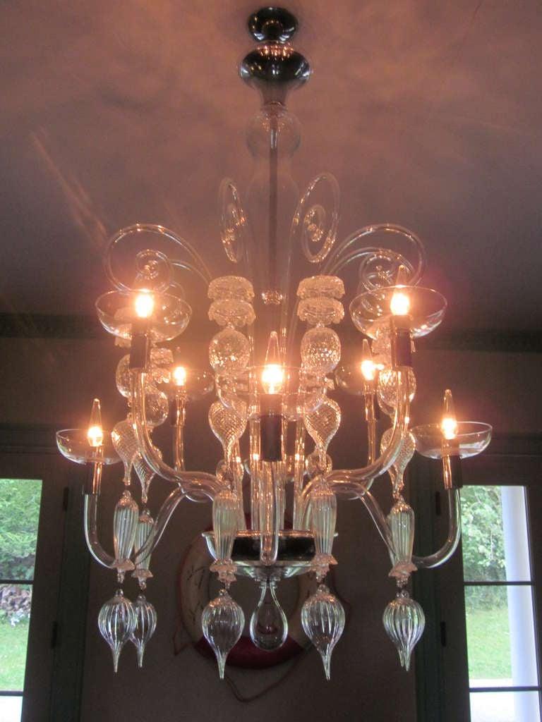 Italian Clear Murano Glass Chandelier By Carlo Scarpa For Venini