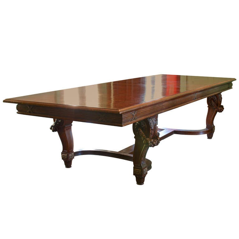 Large French Carved Belle Epoque Dining Table For Sale