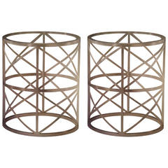 Pair of Italian Modern Neoclasical Silver Leafed Iron Side Tables