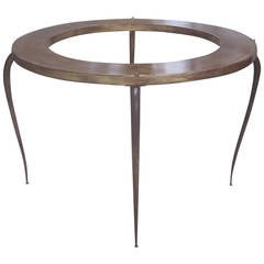 French Mid-Century Modern Round Gilt Iron Coffee Table by Rene Prou, 1940