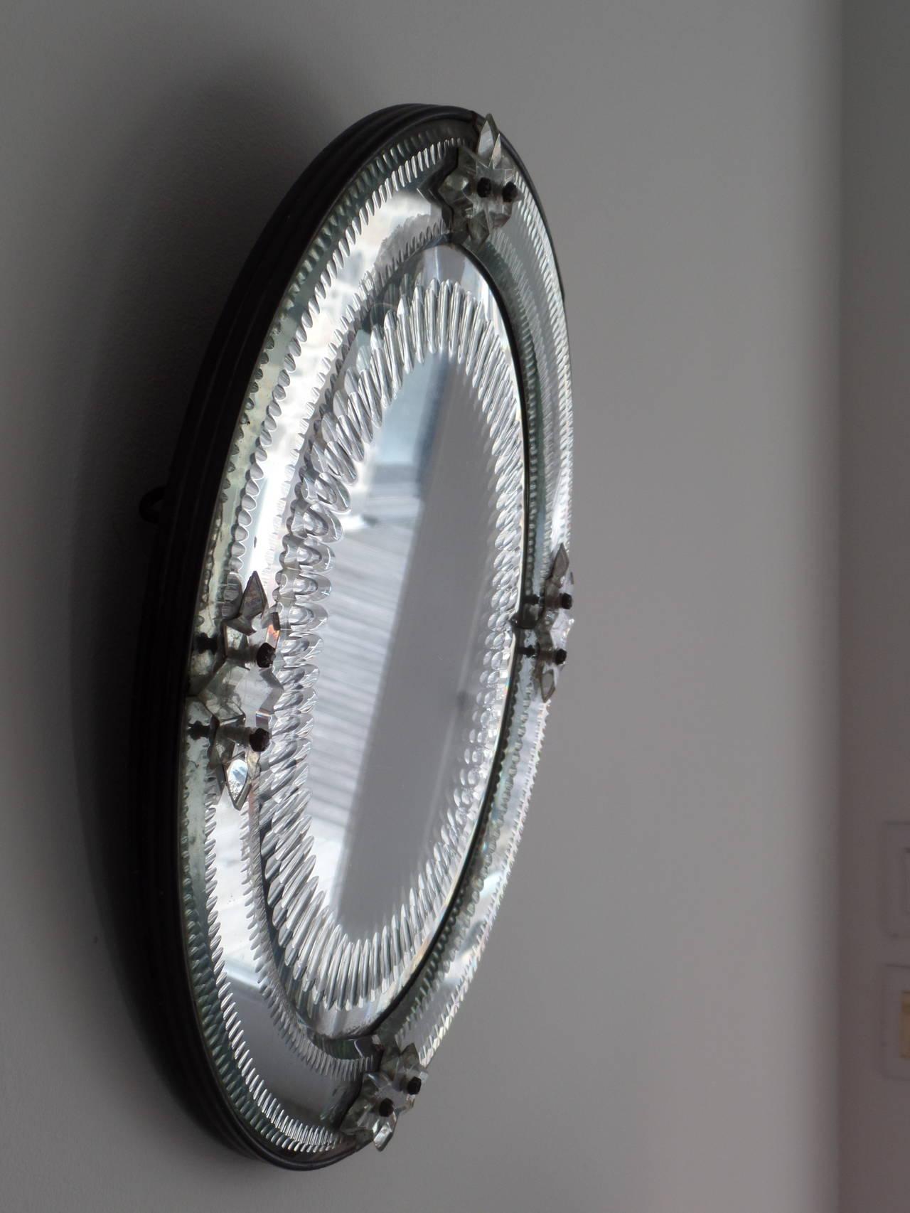 Italian, 1930s Engraved Sunburst Venetian Mirror 4