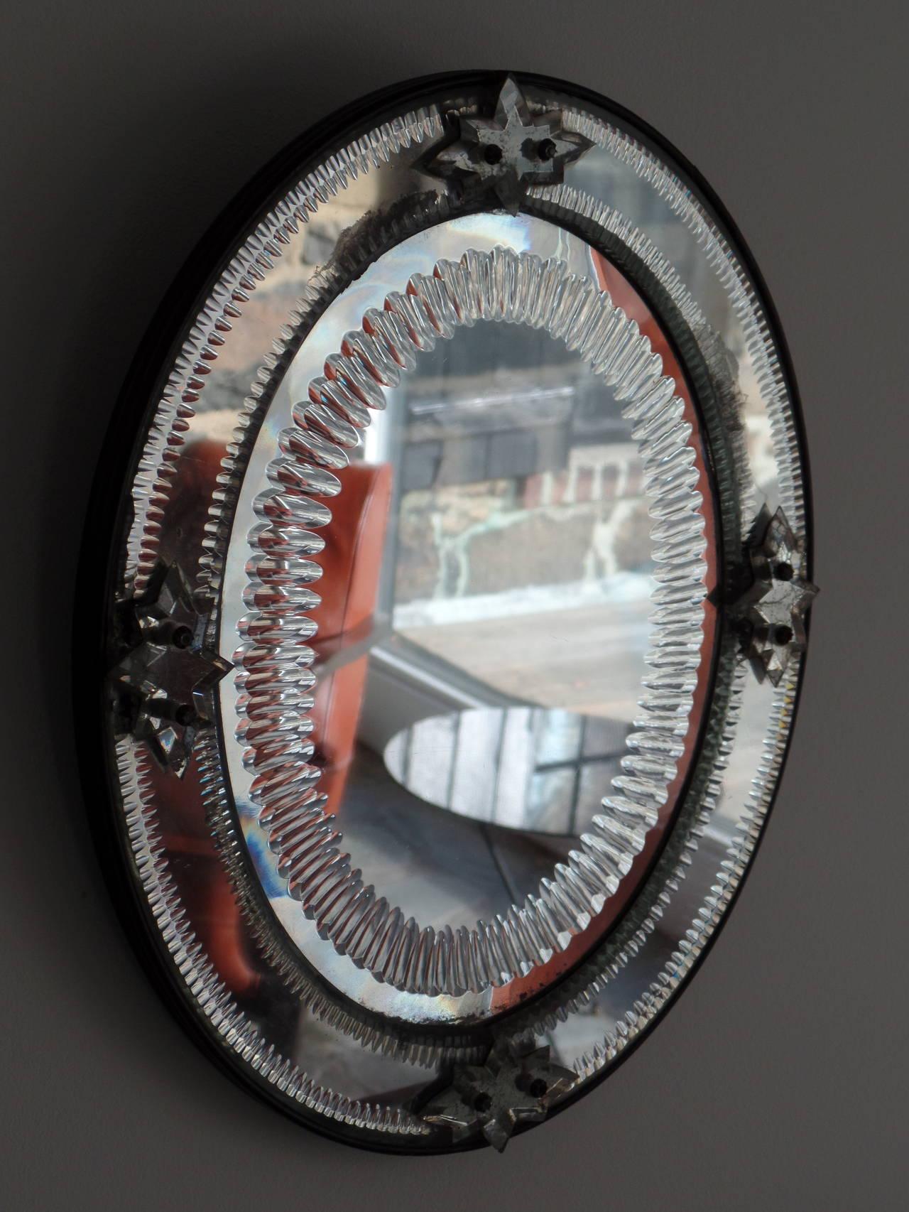 Italian, 1930s Engraved Sunburst Venetian Mirror 3