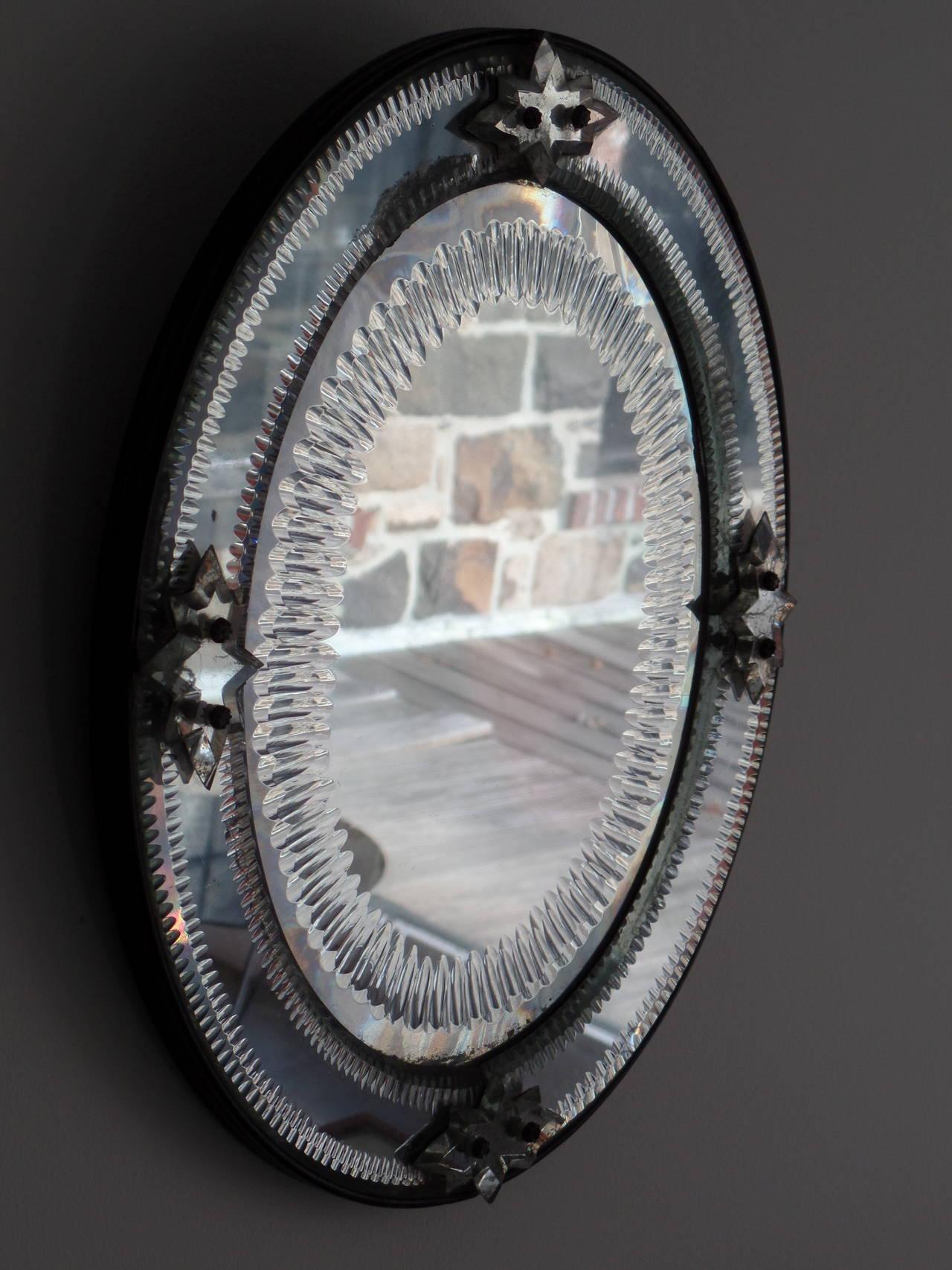 Italian, 1930s Engraved Sunburst Venetian Mirror 2