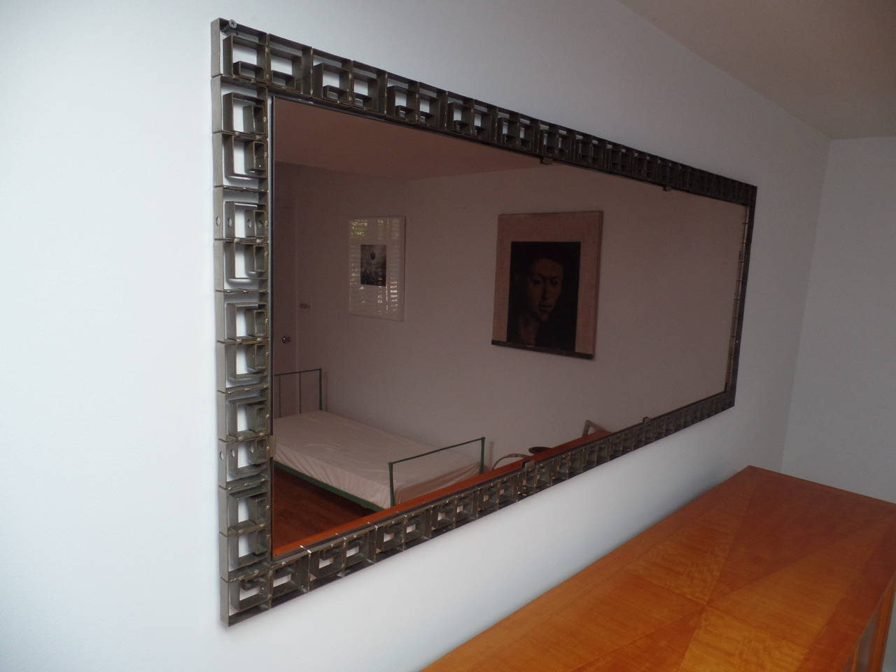 Large Italian Mid-Century Modern Neoclassical Bronze Filagree Floor/ Wall Mirror In Good Condition For Sale In New York, NY
