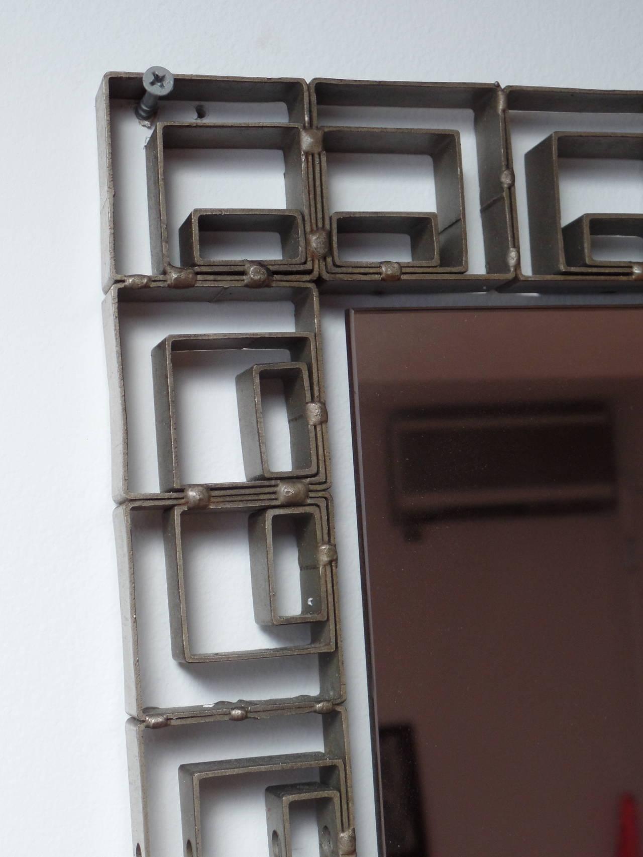 Large Italian Mid-Century Modern Neoclassical Bronze Filagree Floor/ Wall Mirror For Sale 2