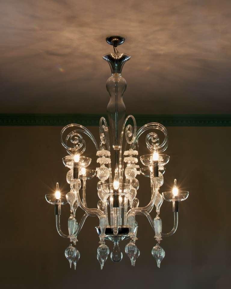 Neoclassical Clear Murano Glass Chandelier By Carlo Scarpa For Venini