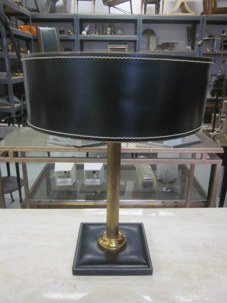 hand stitched leather desk lamp attributed to hermes for sale at